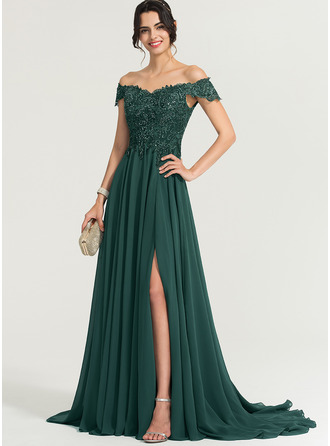 Off-the-Shoulder Sweep Train Chiffon Prom Dresses