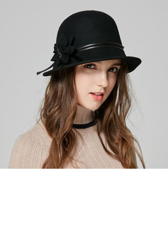 Ladies' Elegant Wool With Flower Bucket Hats