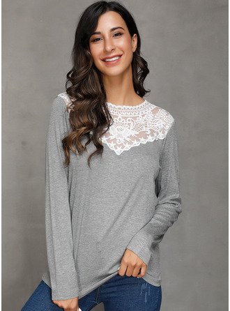 Long Sleeves Cotton Polyester Round Neck Plést Halenky