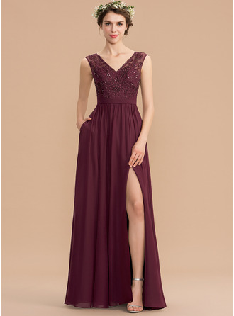 V-neck Floor-Length Chiffon Lace Bridesmaid Dress With Beading Sequins Split Front Pockets