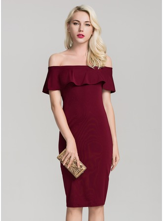 Polyester With Ruffles Knee Length Dress
