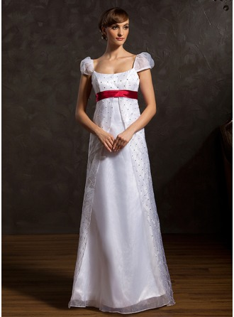 A-Line/Princess Scoop Neck Floor-Length Organza Wedding Dress With Sash Beading