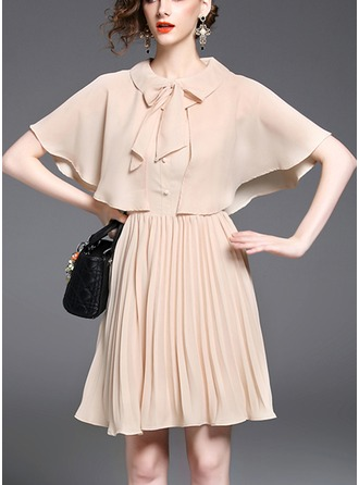 Chiffon With Bowknot/Crumple/Ruffles Above Knee Dress