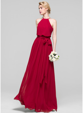 Scoop Neck Floor-Length Chiffon Prom Dresses With Bow(s)