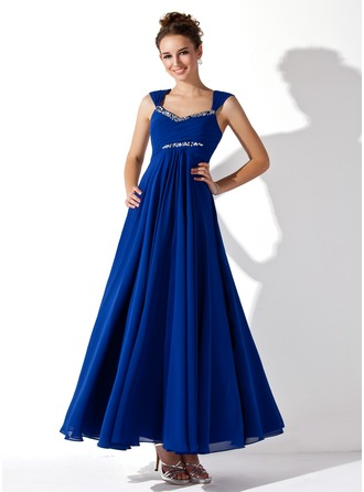 A-Line/Princess V-neck Ankle-Length Chiffon Prom Dress With Ruffle Beading