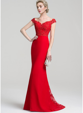 Trumpet/Mermaid Off-the-Shoulder Sweep Train Chiffon Lace Prom Dresses