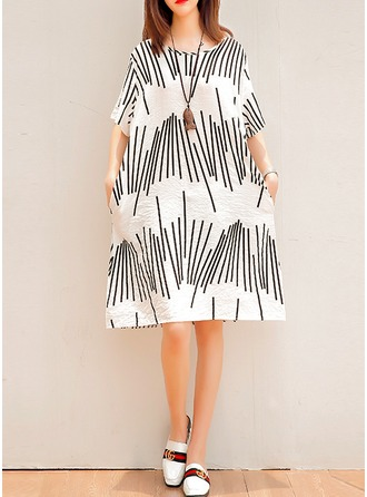 Cotton/Linen With Print Above Knee Dress