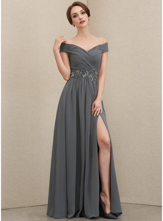Off-the-Shoulder Floor-Length Chiffon Mother of the Bride Dress With Ruffle Beading Sequins Split Front
