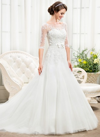 A-Line/Princess Off-the-Shoulder Chapel Train Tulle Lace Wedding Dress With Beading Sequins Bow(s)