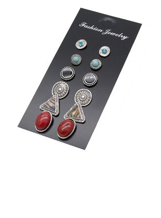 Chic Alliage Dames Boucles d'oreille de mode (Ensemble de 6 paires)