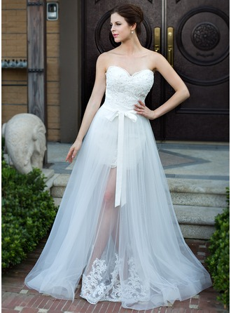A-Line/Princess Sweetheart Floor-Length Detachable Satin Tulle Wedding Dress With Lace Beading Bow(s)
