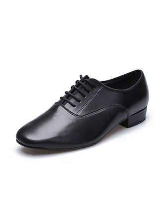 Men's Real Leather Sneakers Latin Modern Ballroom Party With Lace-up Dance Shoes