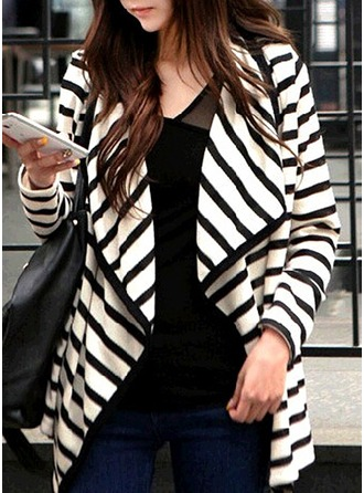 Cotton Long Sleeves Striped Blazer Coats