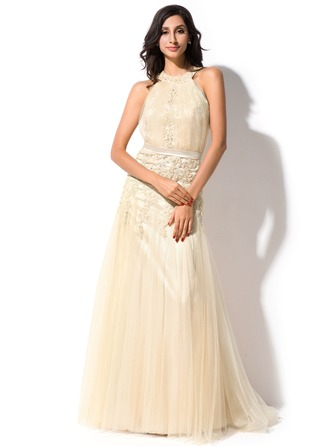 Trumpet/Mermaid Scoop Neck Sweep Train Tulle Lace Evening Dress With Ruffle Beading Appliques Lace Sequins