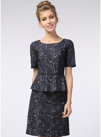 Cotton/Lace Knee Length Dress