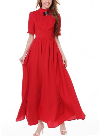 Linen With Stitching/Crumple Maxi Dress