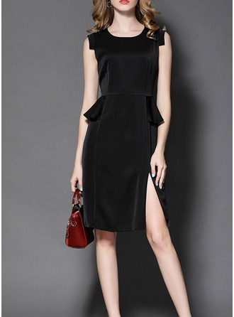 Polyester With Stitching/Resin solid color Knee Length Dress