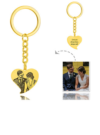 Groom Gifts - Personalized Custom Engraved Photo Engraved Black And White 18k Gold Plated Sterling Silver Keychain
