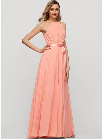 A-Line Scoop Neck Floor-Length Chiffon Evening Dress With Bow(s) Pleated