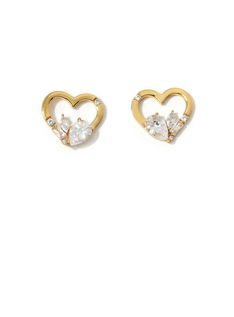 Ladies' Heart Shaped Copper/Cubic Zirconia With Pear Cubic Zirconia Earrings For Her