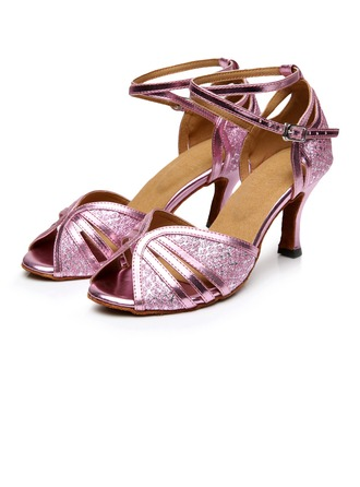 Women's Sparkling Glitter Heels Sandals Latin With Buckle Hollow-out Dance Shoes