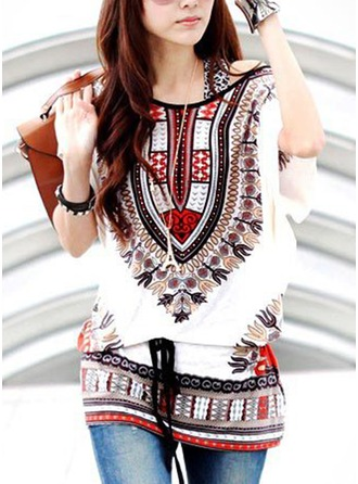 Print Short Sleeves Polyester Round Neck Casual Blouses ()