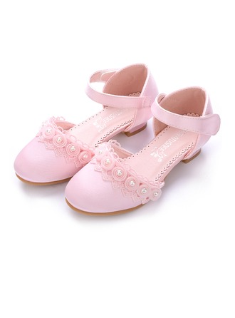 Girl's Closed Toe Silk Like Satin Low Heel Pumps Flower Girl Shoes With Velcro Flower