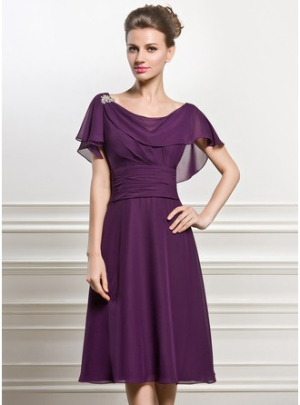 Cowl Neck Knee-Length Chiffon Mother of the Bride Dress With Beading Sequins Cascading Ruffles