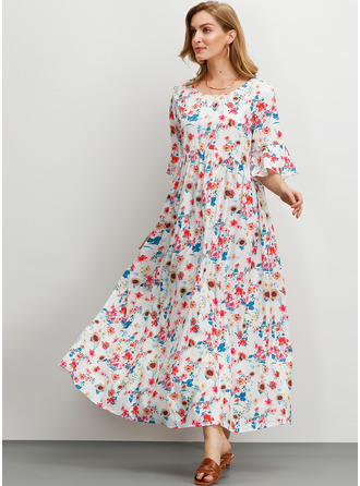 Polyester med Print/Frynse Maxi Kle
