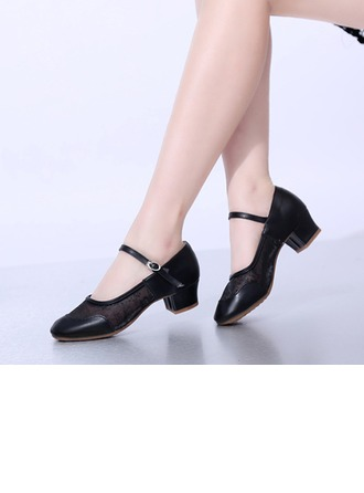 Women's Leatherette Lace Mesh Heels Pumps Character Shoes Dance Shoes