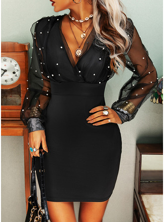 Solid Bodycon V-Neck Long Sleeves Midi Elegant Party Dresses