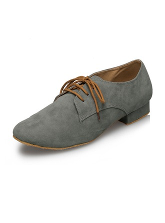 Men's Suede Flats Ballroom With Lace-up Dance Shoes