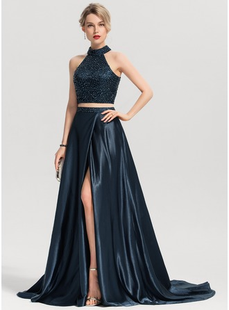 Scoop Neck Sweep Train Charmeuse Prom Dresses With Beading Split Front