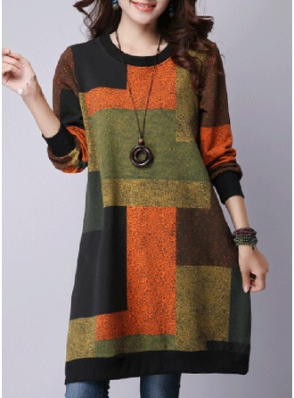 Color Block Cotton Blends Round Neck Sweater Sweaters