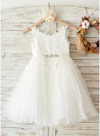 Po kolena Flower Girl Dress - Tyl Krajka Bez rukávů popruhy