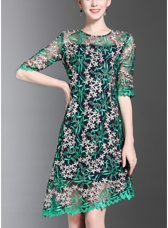 Organza With Embroidery Above Knee Dress