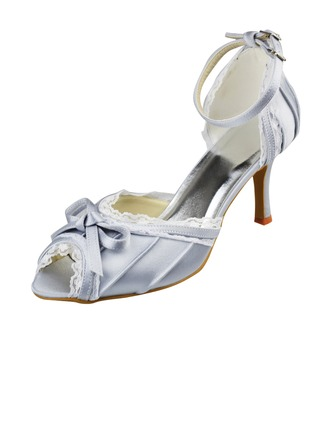 Women's Satin Stiletto Heel Peep Toe Pumps With Ribbon Tie