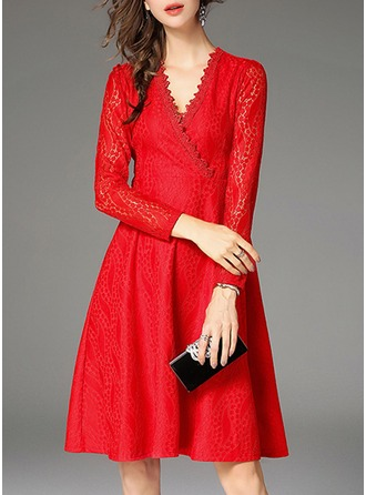 Lace With Lace/Stitching/Hollow/Crumple Knee Length Dress