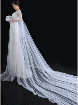 One-tier Cut Edge Chapel Bridal Veils/Cathedral Bridal Veils With Beading/Sequin/Lace