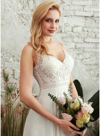 A-Line V-neck Floor-Length Wedding Dress With Split Front