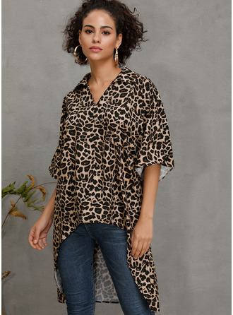 1/2 Sleeves Cotton Blends V Neck Blouses