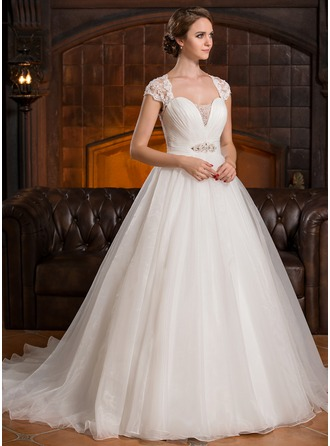 Ball-Gown Sweetheart Court Train Organza Lace Wedding Dress With Ruffle Beading Sequins