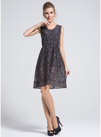 Polyester/Cotton With Lace/Print Above Knee Dress