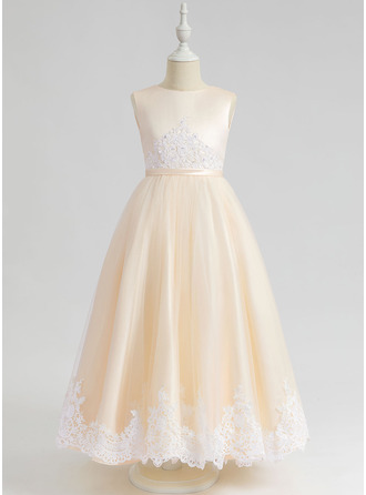 Ball-Gown/Princess Ankle-length Flower Girl Dress - Sleeveless Scalloped Neck With Lace Sequins