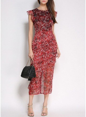 Polyester med Stikking/Print Maxi Kle