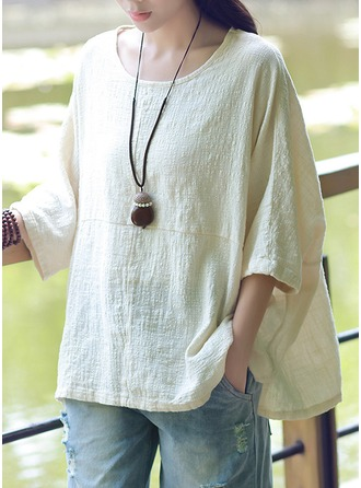 Plain 1/2 Sleeves Cotton Round Neck Casual Blouses ()