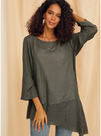 Long Sleeves Cotton Polyester Round Neck Blouses