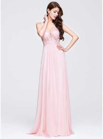 A-Line/Princess V-neck Sweep Train Chiffon Prom Dress With Appliques Lace Sequins