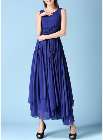 Chiffon With Stitching/Resin solid color Maxi Dress