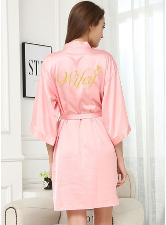 Personalized Charmeuse Bride Glitter Print Robes